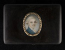 A portrait miniature of a Gentleman, wearing blue coat and white shirt, his hair by Richard Cosway