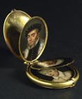 Locket with eight portrait miniatures by Dutch  School