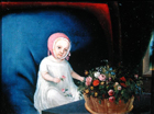 Young child with a basket of flowers by Anglo Oriental